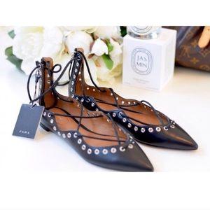 Zara Shoes - Zara Lace Up Flats